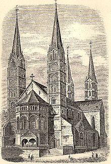 Gravure de la cathédrale impériale de Bamberg par Joseph Kürschner, 1891. Deux clochers apparaissent au premier plan.