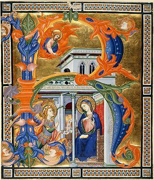 """Silvestro dei Gherarducci - Initial """"R"""", gradual from the monastery of Santa Maria degli Angeli"""