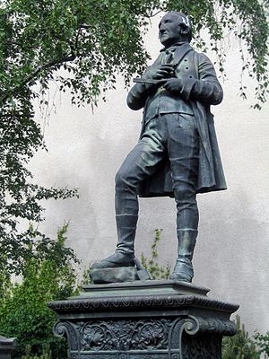 Dorotheenstadt cemetery - Statue of Johann Gottfried Schadow on his grave, by Heinrich Kaehler