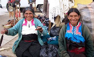 Indigenous peoples of Mexico - Tzotzil Maya women from San Juan Chamula, Chiapas.
