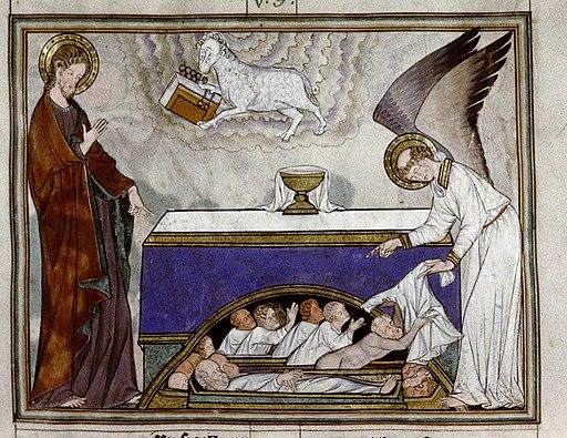 Douce Apocalypse - Bodleian Ms180 - p.017 Receiving white robes