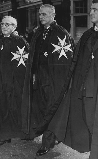 Order of Saint John (chartered 1888) - Douglas Fairbanks, Jr., robed as a Knight of Justice of the Order (1958)