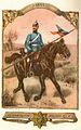 Dragoner des Oldenburgischen Dragoner Regiments Nr. 19, 1899. Die Lanzenflagge in den oldenburgischen Farben blau-rot. Zeichnung von Richard Knötel dm Älteren...jpg