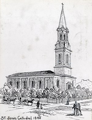 Great Fire of Toronto (1849) - Image: Drawing St James Cathedral 1840