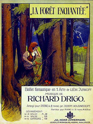 The Enchanted Forest (ballet) - Frontispiece for the piano reduction of Riccardo Drigo's score for Lev Ivanov's La Forêt enchantée as issued by the music publisher Zimmerman, 1909.