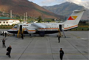 Druk Air - Drukair BAe 146-100 at Paro Airport in 2005.