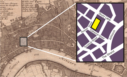 Location of the Theatre Royal on a map of London from 1700; the inset shows the streets as they are in 2006. Drury lane inset map.png