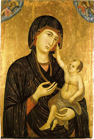 Tempera - Madonna and Child by Duccio, tempera and gold on wood, 1284, Siena