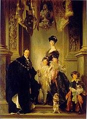 Portrait du 9e duc de Marlborough avec sa famille