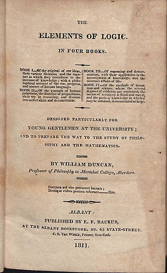 Gnosology - In The elements of logic (1811), William Duncan combined a Lockean theory of knowledge with syllogistic logic.