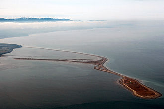 Dungeness Spit - Two aerial views of Dungeness Spit.  The sandbar splits into two branches near the end.