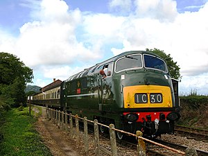 Dunster railway station - A diesel-hauled service to Bishops Lydeard at Dunster