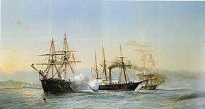 Bombardment of Mogador - Naval combat between two Moroccan bricks and a French steam paddlewheel corvette in the Bombardment of Mogador.