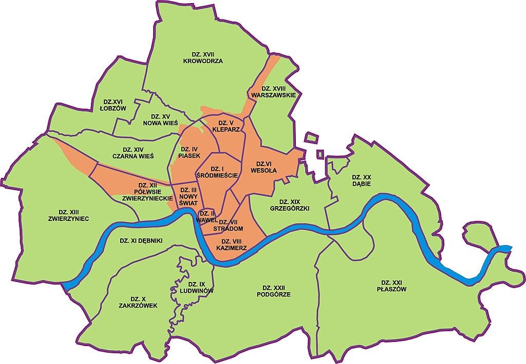 Carte de Cracovie et de ses quartiers. Image d' ArkadiuszFrankowicz