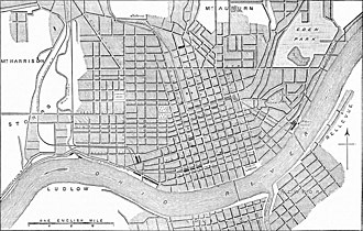 """History of Covington, Kentucky - The """"Plan of Cincinnati"""" from the 1878 ''Encyclopaedia Britannica'', showing the layout of downtown Covington and Newport to the south"""