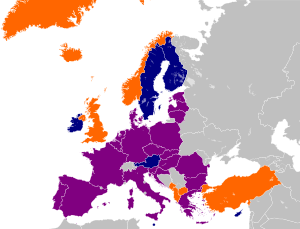 English: A map showing European membership of ...
