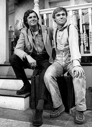 Earl Hamner Jr. - Hamner and Richard Thomas on the set of The Waltons, 1976