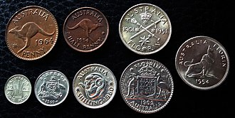 Coins of the Australian pound - Late Australian Imperial Coins—1954 half penny, 1964 penny, 1963 threepence, 1960 sixpence, 1960 shilling, 1962 florin, 1951 florin, and 1954 florin.