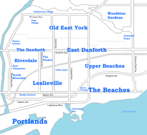 English: Neighbourhoods in East Toronto