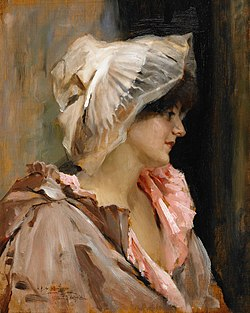 EDELFELT Albert Parisian Lady in a Peignoir, probably 1884