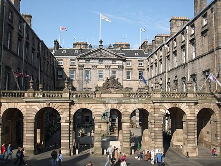 Edinburgh City Chambers is the headquarters of the City of Edinburgh Council. Edinburgh City Chambers.jpg