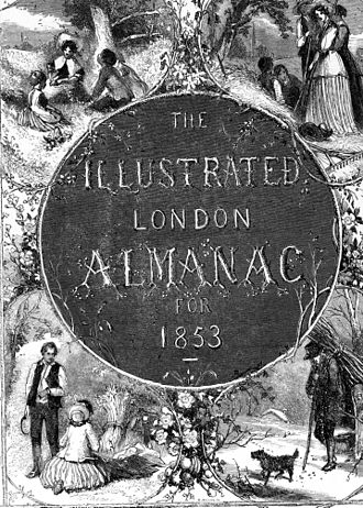 Edmund Evans - This 1853 title page for the Illustrated London Almanac is an example of Evans' engraving work. The illustration is designed by Myles Birket Foster.