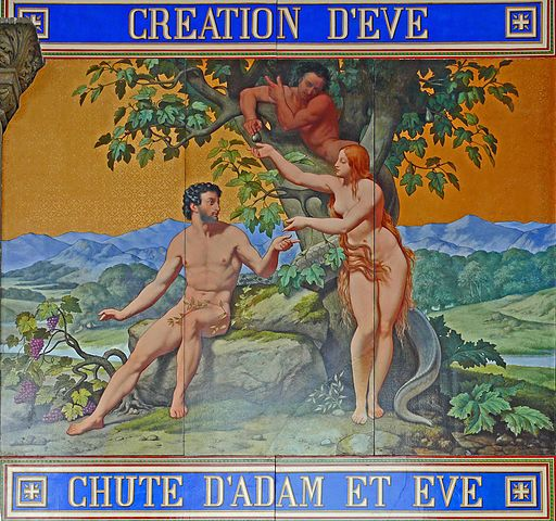 Eglise Saint-Vincent-de-Paul - Décor façade - Adam et Eve