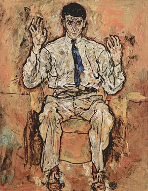 Albert Paris Gütersloh - Albert Paris Gütersloh, portrait by Egon Schiele, 1918.