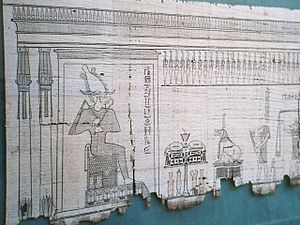 Book - Egyptian papyrus showing the god Osiris and the weighing of the heart.