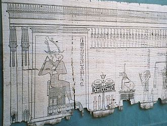 Duat - A section of the Egyptian Book of the Dead that is written on papyrus, showing the Weighing of the Heart in the Duat, where Anubis can be seen on the far right. The scales are shown with the feather balance, and Ammit awaits hearts that she must devour. The presence of Osiris at the gateway to the paradise of Aaru dates the papyrus to a late tradition of the myth.