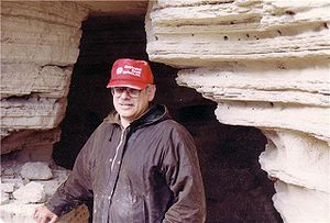 Robert Eisenman - Photo: Prof. Eisenman on first Qumran Radar Ground-scan Expedition standing in face of Cave 4, 1990–91