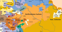Electoral Saxony within the Holy Roman Empire upon the 1648 Peace of Westphalia The Holy Roman Empire upon the 1648 Peace of Westphalia