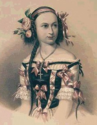 Elena Andreianova - Colour lithograph of  Elena Andreyanova c1840s. From the State Museum of Theatre and Music Art, St. Petersburg