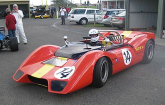 Bob Jane - The Elfin 400 Repco which Jane raced in the same colours during the late 1960s