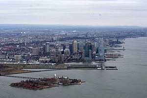 Hudson Waterfront - Ellis Island and Downtown Jersey City looking north