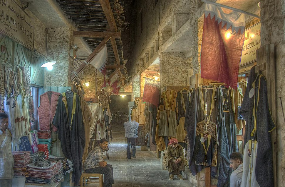 Embroidered dresses in Souq Waqif