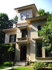 The Evergreens, the home of Austin and Susan Dickinson, as it appears today