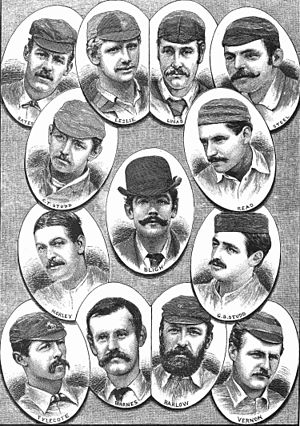 The Ashes urn - An etching of the English cricket team that toured Australia in 1882-83 in the Australasian newspaper of 1882.
