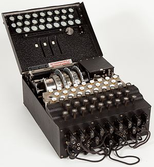 "Enigma machine - Military Enigma machine, model ""Enigma 1"", used during the late 1930s and during the war; displayed at Museo scienza e tecnologia Milano, Italy"