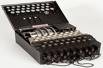 "Enigma machine - Military Enigma machine, model ""Enigma I"", used during the late 1930s and during the war; displayed at Museo scienza e tecnologia Milano, Italy"