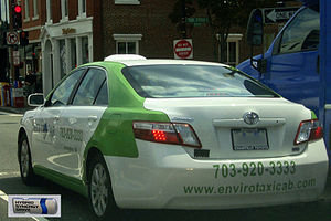English: Environmental friendly (green) taxi f...