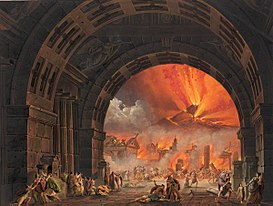 The final scene of L'ultimo giorno di Pompei using a set designed by Alessandro Sanquirico Eruption of Vesuvius from Pacini's opera L'ultimo giorno di Pompei.jpg