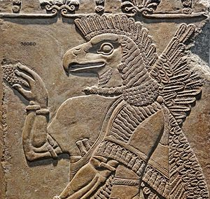 Ninurta - Ninurta portrayed with an eagle head, circa 860 BCE, Temple of Ninurta, Nimrud