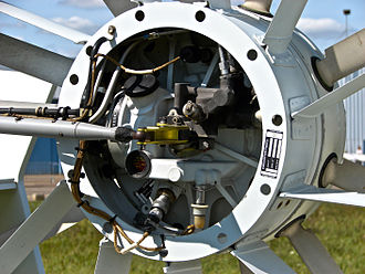 Fenestron - Detail of the pitch control mechanism of an EC135 fenestron