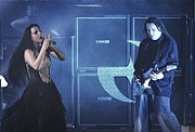 Evanescence performing at the concert in Le Zénith, Paris, featured on Anywhere but Home.