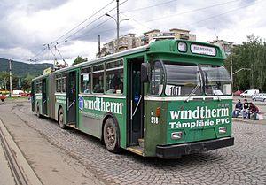 Trolleybuses in Basel - Ex-Basel trolleybus 918 in service in Braşov (Romania) in 2006, still wearing BVB fleet livery