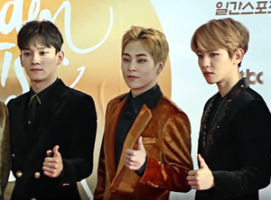 Exo-CBX at Golden Disc Awards January 2017 From left to right: Chen, Xiumin, and Baekhyun
