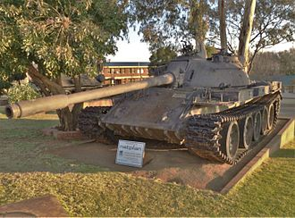 Battle of Cuito Cuanavale - FAPLA or Cuban T-55 tank. A number engaged a force of Olifant Mk1As in the counter-attack against SADF advance units on 14 February.
