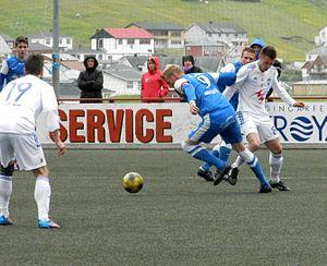 KÍ Klaksvík - FC Suðuroy vs. KÍ Klaksvík in Effodeildin on 30 June 2012. KÍ is in white here.