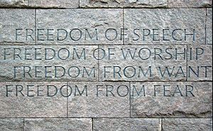 The Four Freedoms engraved on a wall at the Fr...